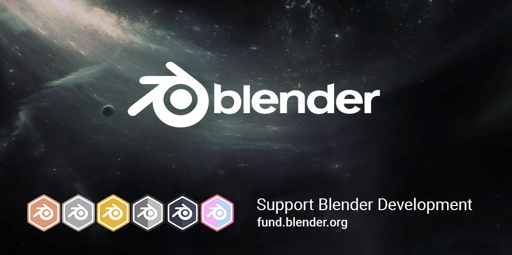 Blender 2.8 splash screen - avec le lien pour soutenir le développement fund.blender.org
