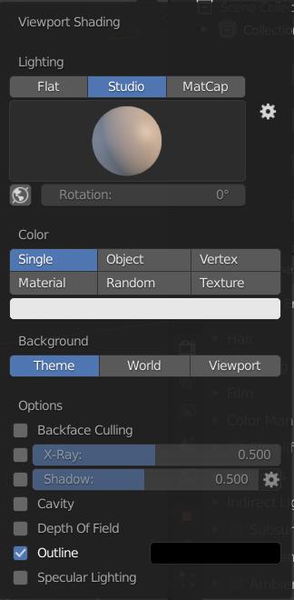 Le menu de paramétrage de l'affichage de la vue 3D, en mode solid